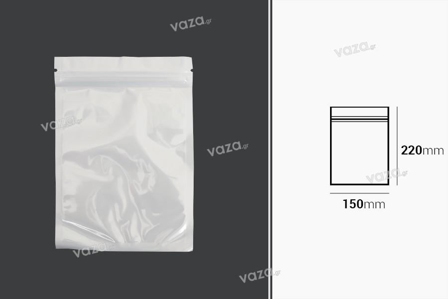 Σακουλάκια πλαστικά 150x220 mm με κλείσιμο zip, λευκή πίσω όψη και διάφανο μπροστά - 100 τμχ