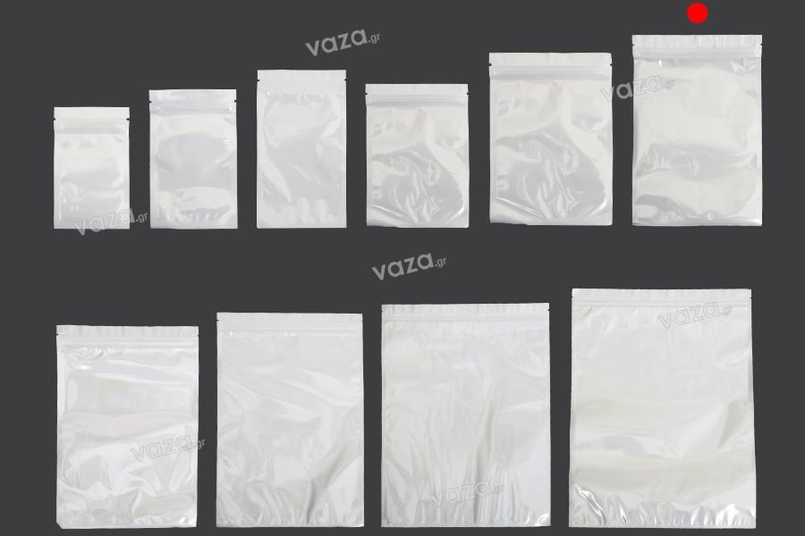 Σακουλάκια πλαστικά 160x240 mm με κλείσιμο zip, λευκή πίσω όψη και διάφανο μπροστά - 100 τμχ