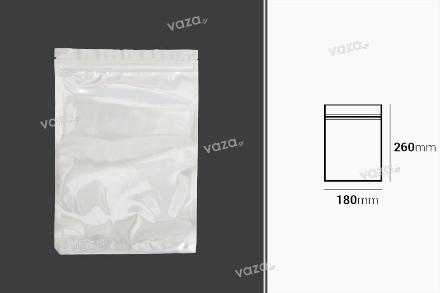 Σακουλάκια πλαστικά 180x260 mm με κλείσιμο zip, λευκή πίσω όψη και διάφανο μπροστά - 100 τμχ