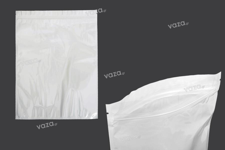 Σακουλάκια πλαστικά 260x340 mm με κλείσιμο zip, λευκή πίσω όψη και διάφανο μπροστά- 100 τμχ