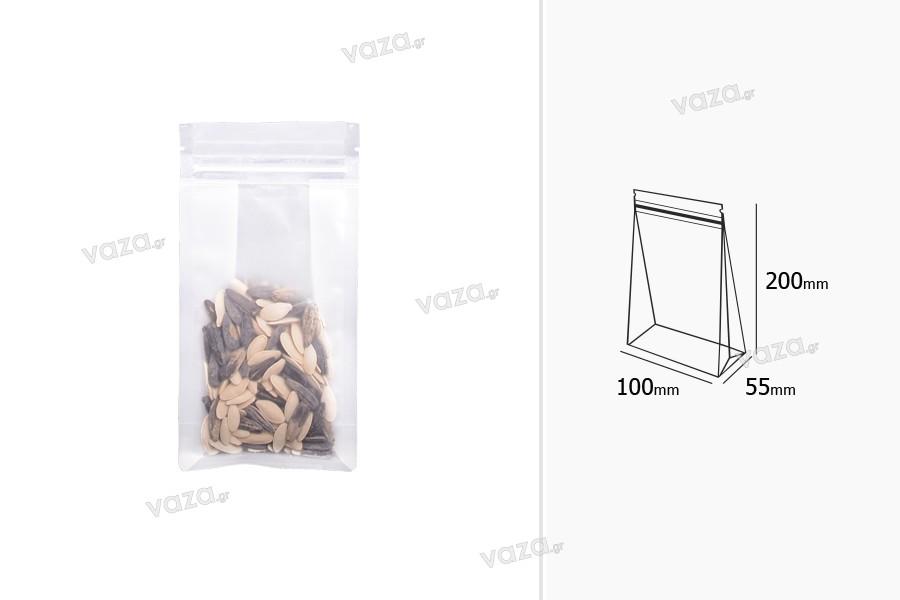 """Σακουλάκια τύπου Doy Pack διάφανα με κλείσιμο """"zip"""" και δυνατότητα σφράγισης με θερμοκόλληση 100x55x200 mm - 50 τμχ"""