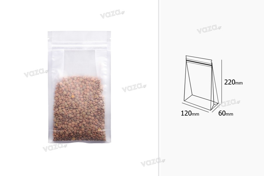 """Σακουλάκια τύπου Doy Pack διάφανα με κλείσιμο """"zip"""" και δυνατότητα σφράγισης με θερμοκόλληση 120x60x220 mm - 50 τμχ"""