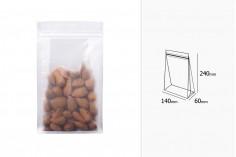 """Σακουλάκια τύπου Doy Pack διάφανα με κλείσιμο """"zip"""" και δυνατότητα σφράγισης με θερμοκόλληση 140x60x240 mm - 50 τμχ"""