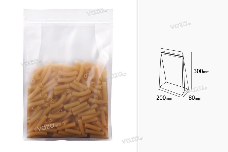 """Σακουλάκια τύπου Doy Pack διάφανα με κλείσιμο """"zip"""" και δυνατότητα σφράγισης με θερμοκόλληση 200x80x300 mm - 50 τμχ"""