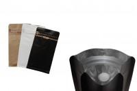 Σακουλάκια αλουμινίου τύπου Doy Pack με βαλβίδα, εξωτερική χάρτινη επένδυση κραφτ, άνοιγμα με ταινία ασφαλείας και χρήση του zipper, ιδανικά για σκόνη καφέ 95x55x185 mm - 25 τμχ
