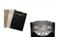Σακουλάκια αλουμινίου τύπου Doy Pack με βαλβίδα, εξωτερική χάρτινη επένδυση κραφτ, άνοιγμα με ταινία ασφαλείας και χρήση του zipper, ιδανικά για σκόνη καφέ 125x65x195 mm - 25 τμχ