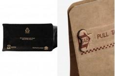 Σακουλάκια αλουμινίου τύπου Doy Pack με βαλβίδα, εξωτερική χάρτινη επένδυση κραφτ, κλείσιμο με θερμοκόλληση, άνοιγμα με ταινία ασφαλείας και χρήση του zipper, ιδανικά για σκόνη καφέ 135x80x225 mm - 25 τμχ