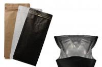 Σακουλάκια αλουμινίου τύπου Doy Pack με βαλβίδα, εξωτερική χάρτινη επένδυση κραφτ, άνοιγμα με ταινία ασφαλείας και χρήση του zipper, ιδανικά για σκόνη καφέ 145x100x335 mm - 25 τμχ