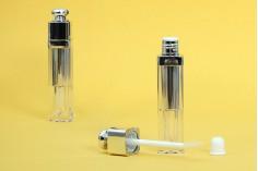 Θήκη για lip gloss 5 ml διάφανο με ασημί