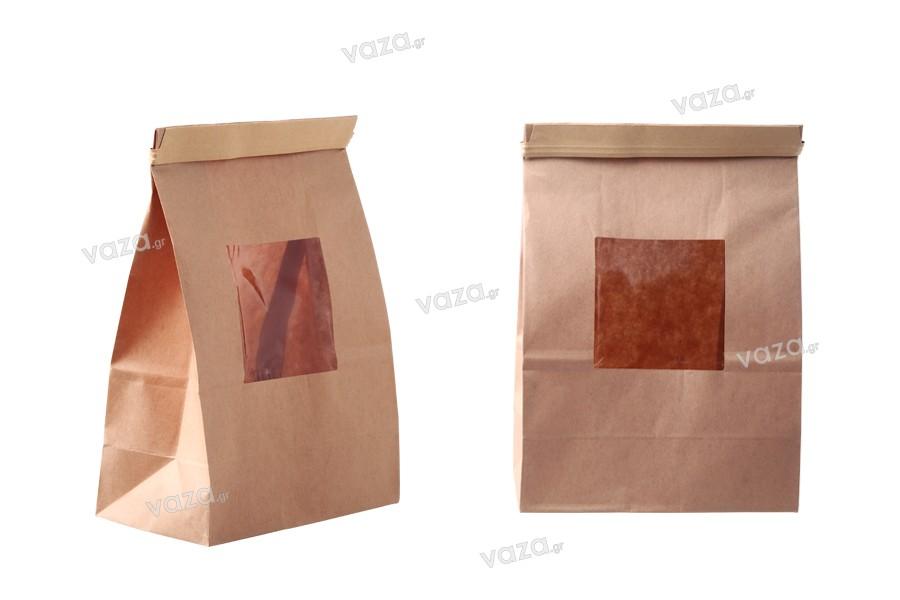 Σακουλάκια κραφτ 120x60x245 mm με παράθυρο και σύρμα για κλείσιμο (tin-tie)