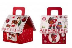 Χριστουγεννιάτικο κουτί δώρου με χερούλι 160x145x190 mm - 12 τμχ