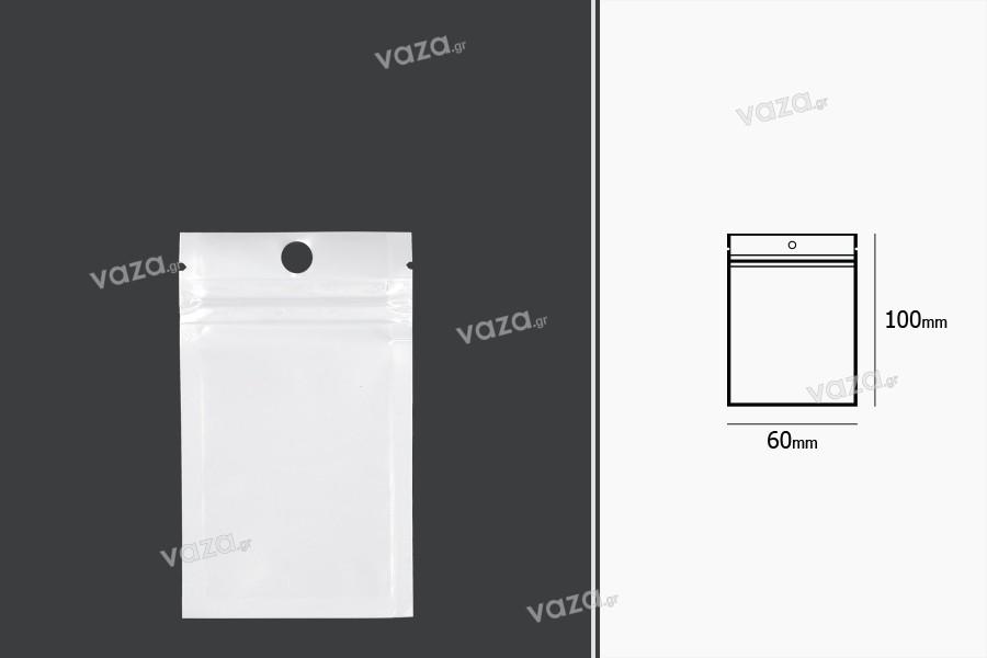 Σακουλάκια πλαστικά με κλείσιμο zip 60x100 mm, λευκή πίσω όψη και διάφανο μπροστά, με τρύπα και δυνατότητα σφράγισης με θερμοκόλληση - 100 τμχ