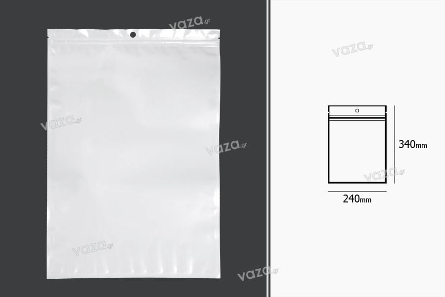 Σακουλάκια πλαστικά με κλείσιμο zip 240x340 mm, λευκή πίσω όψη και διάφανο μπροστά, με τρύπα και δυνατότητα σφράγισης με θερμοκόλληση - 100 τμχ