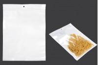 Sachet plastique avec fermeture à glissière et trou de suspension, blanc à l'arrière et transparent au devant  300X400mm- paquet de 100 pièces