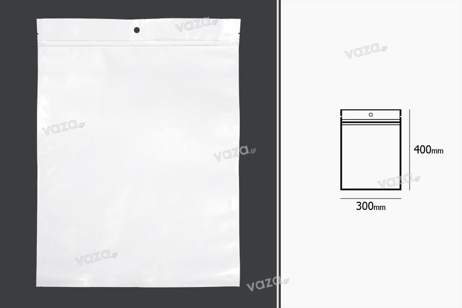Σακουλάκια πλαστικά με κλείσιμο zip 300x400 mm, λευκή πίσω όψη και διάφανο μπροστά, με τρύπα και δυνατότητα σφράγισης με θερμοκόλληση - 100 τμχ