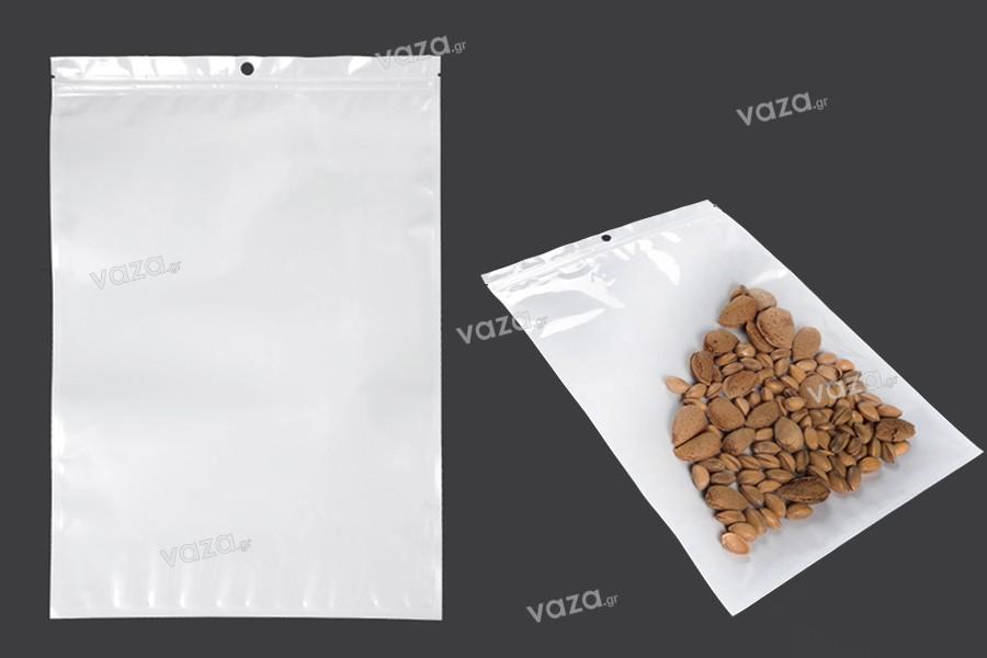 Σακουλάκια πλαστικά με κλείσιμο zip 260x340 mm, λευκή πίσω όψη  και διάφανο μπροστά, με τρύπα και δυνατότητα σφράγισης με θερμοκόλληση - 100 τμχ
