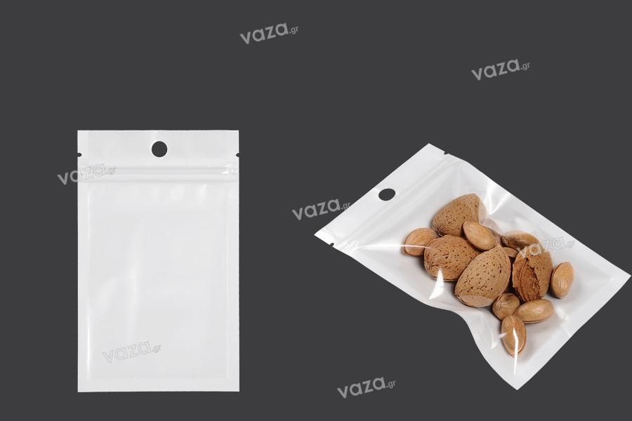 Σακουλάκια πλαστικά με κλείσιμο zip 80x130 mm, λευκή πίσω όψη, διάφανο μπροστά και τρύπα- 100 τμχ