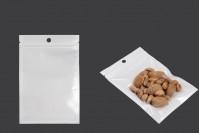 Σακουλάκια πλαστικά με κλείσιμο zip 110x160 mm, λευκή πίσω όψη και διάφανο μπροστά, με τρύπα και δυνατότητα σφράγισης με θερμοκόλληση - 100 τμχ