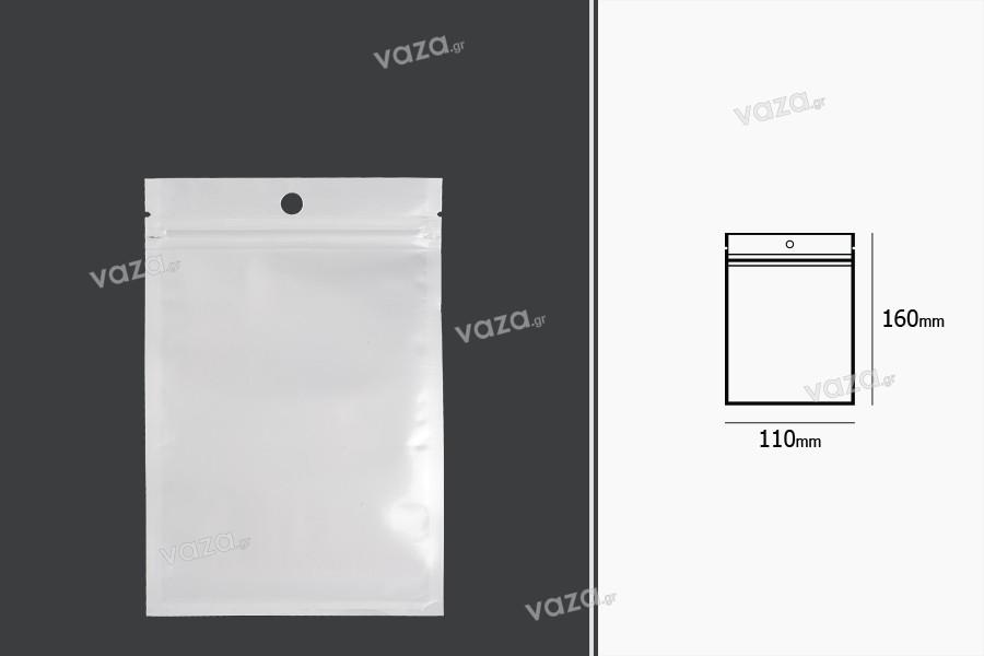 Σακουλάκια πλαστικά με κλείσιμο zip 110x160 mm, λευκή πίσω όψη, διάφανο μπροστά και τρύπα- 100 τμχ