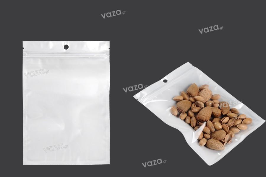 Σακουλάκια πλαστικά με κλείσιμο zip 140x200 mm, λευκή πίσω όψη και διάφανο μπροστά, με τρύπα και δυνατότητα σφράγισης με θερμοκόλληση - 100 τμχ