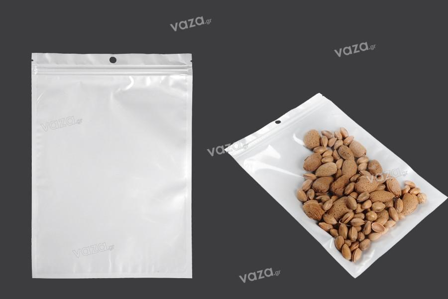 Σακουλάκια πλαστικά με κλείσιμο zip 180x260 mm, λευκή πίσω όψη και διάφανο μπροστά, με τρύπα και δυνατότητα σφράγισης με θερμοκόλληση - 100 τμχ