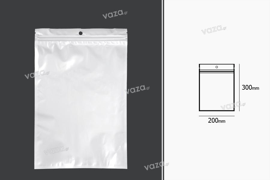 Σακουλάκια πλαστικά με κλείσιμο zip 200x300 mm, λευκή πίσω όψη και διάφανο μπροστά, με τρύπα και δυνατότητα σφράγισης με θερμοκόλληση - 100 τμχ