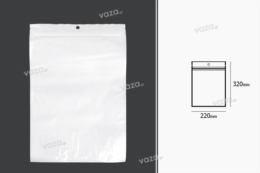 Σακουλάκια πλαστικά με κλείσιμο zip 220x320 mm, λευκή πίσω όψη, διάφανο μπροστά και τρύπα- 100 τμχ
