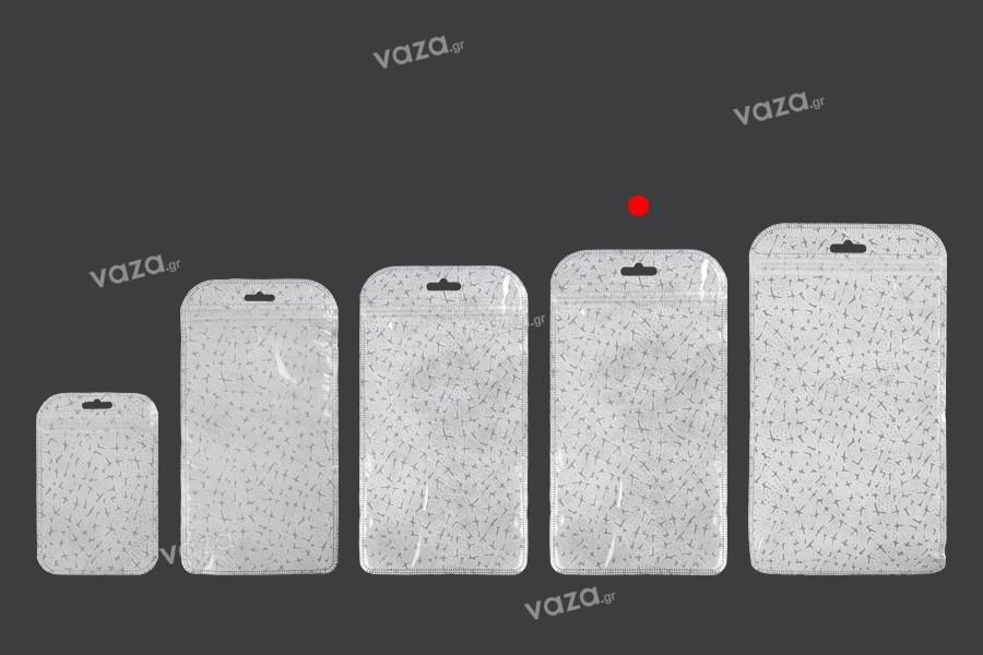 Σακουλάκια με κλείσιμο zip 130x230 mm, non woven πίσω όψη, διάφανο μπροστά και τρύπα eurohole - 50 τμχ