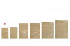 """Σακουλάκια κραφτ τύπου Doy Pack, με κλείσιμο """"zip"""" και παράθυρο, εσωτερική και εξωτερική διάφανη επένδυση και δυνατότητα σφράγισης με θερμοκόλληση 90x30x140 mm - 100 τμχ"""