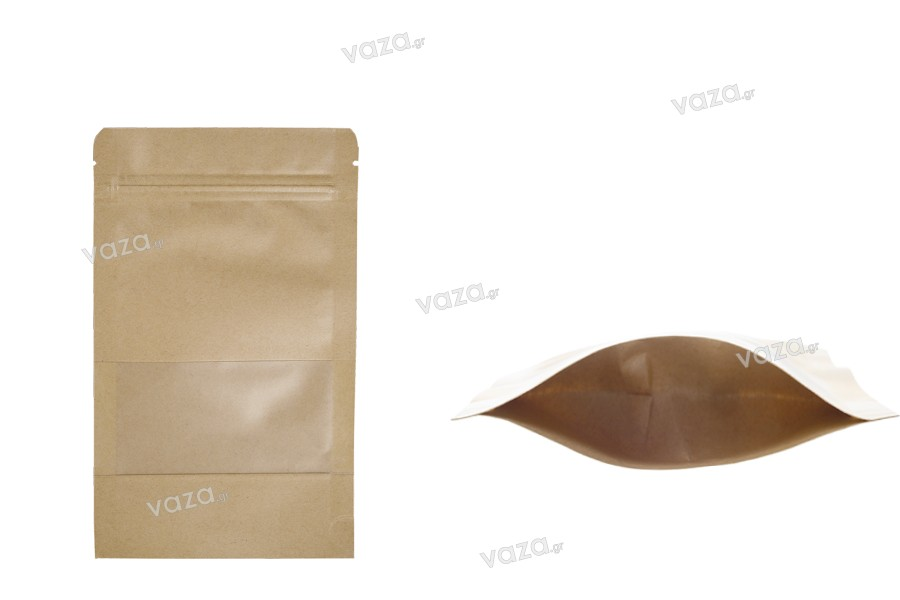 """Σακουλάκια κραφτ τύπου Doy Pack, με κλείσιμο """"zip"""" και παράθυρο, εσωτερική και εξωτερική διάφανη επένδυση και δυνατότητα σφράγισης με θερμοκόλληση 120x40x200 mm - 100 τμχ"""