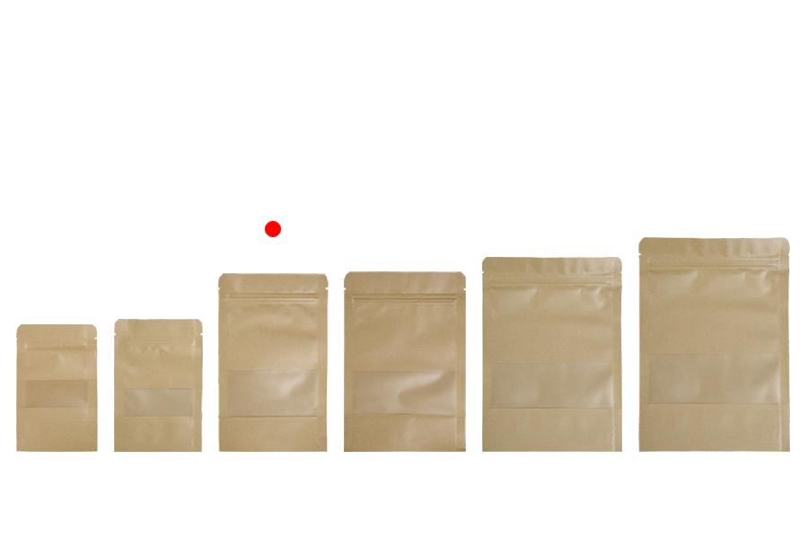 Sachets kraft type DOYPACK, avec zip et fenêtre, revêtement transparent interne et externe et possibilité de fermeture de collage à chaud 120x40x200 mm – paquet de 100 pièces
