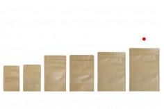 """Σακουλάκια κραφτ τύπου Doy Pack, με κλείσιμο """"zip"""" και παράθυρο, εσωτερική και εξωτερική διάφανη επένδυση και δυνατότητα σφράγισης με θερμοκόλληση 170x40x240 mm - 100 τμχ"""