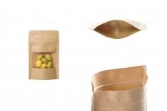 """Σακουλάκια κραφτ τύπου Doy Pack, με κλείσιμο """"zip"""" και παράθυρο, εσωτερική και εξωτερική διάφανη επένδυση και δυνατότητα σφράγισης με θερμοκόλληση 80x30x130 mm - 100 τμχ"""