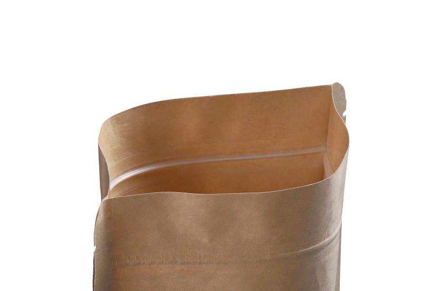"""Σακουλάκια κραφτ τύπου Doy Pack, με κλείσιμο """"zip"""" και παράθυρο, εσωτερική και εξωτερική διάφανη επένδυση και δυνατότητα σφράγισης με θερμοκόλληση 100x30x150 mm - 100 τμχ"""