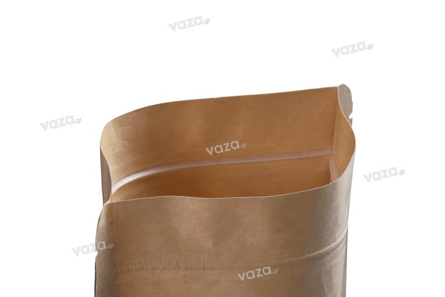 """Σακουλάκια κραφτ τύπου Doy Pack, με κλείσιμο """"zip"""" και παράθυρο, εσωτερική και εξωτερική διάφανη επένδυση και δυνατότητα σφράγισης με θερμοκόλληση 140x40x200 mm - 100 τμχ"""