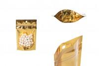 """Σακουλάκια τύπου Doy Pack 100x30x150 mm αλουμινίου με χρυσή πίσω πλευρά, διάφανο μπροστά με κλείσιμο """"zip"""" και δυνατότητα σφράγισης με θερμοκόλληση - 100 τμχ"""