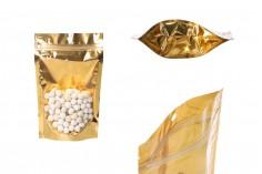 """Σακουλάκια τύπου Doy Pack 130x40x205 mm αλουμινίου με χρυσή πίσω πλευρά, διάφανο μπροστά με κλείσιμο """"zip"""" και δυνατότητα σφράγισης με θερμοκόλληση - 100 τμχ"""