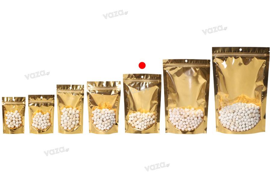 """Σακουλάκια τύπου Doy Pack 150x40x230 mm αλουμινίου με χρυσή πίσω πλευρά, διάφανο μπροστά με κλείσιμο """"zip"""" και δυνατότητα σφράγισης με θερμοκόλληση - 100 τμχ"""