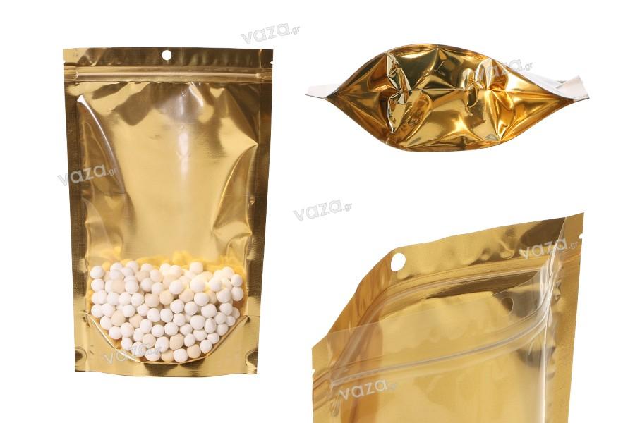 """Σακουλάκια τύπου Doy Pack 180x50x280 mm αλουμινίου με χρυσή πίσω πλευρά, διάφανο μπροστά με κλείσιμο """"zip"""" και δυνατότητα σφράγισης με θερμοκόλληση - 100 τμχ"""