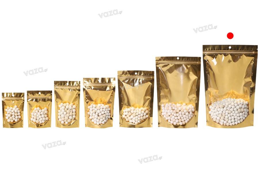 """Σακουλάκια τύπου Doy Pack 200x50x300 mm αλουμινίου με χρυσή πίσω πλευρά, διάφανο μπροστά με κλείσιμο """"zip"""" και δυνατότητα σφράγισης με θερμοκόλληση - 100 τμχ"""