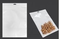 Sachet plastique avec fermeture à glissière et trou de suspension « européenne », blanc à l'arrière et transparent au devant  250X350mm- paquet de 100 pièces