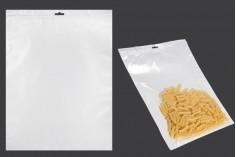 Σακουλάκια πλαστικά με κλείσιμο zip 300x400 mm, λευκή πίσω όψη, διάφανο μπροστά και τρύπα eurohole - 100 τμχ