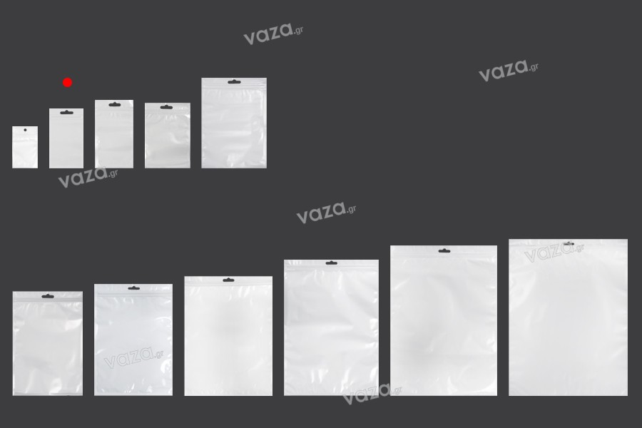 Σακουλάκια πλαστικά με κλείσιμο zip 80x138 mm, λευκή πίσω όψη, διάφανο μπροστά και τρύπα eurohole - 100 τμχ