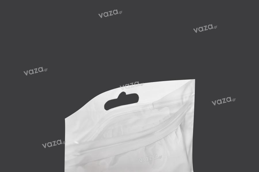 Σακουλάκια πλαστικά με κλείσιμο zip 150x210 mm, λευκή πίσω όψη, διάφανο μπροστά και τρύπα eurohole - 100 τμχ