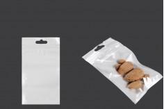 Σακουλάκια πλαστικά με κλείσιμο zip 90x160 mm, λευκή πίσω όψη, διάφανο μπροστά και τρύπα eurohole - 100 τμχ