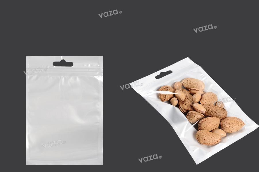 Σακουλάκια πλαστικά με κλείσιμο zip 105x150 mm, λευκή πίσω όψη, διάφανο μπροστά και τρύπα eurohole - 100 τμχ