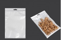 Sachet plastique avec fermeture à glissière et trou de suspension « européenne », blanc à l'arrière et transparent au devant  160X240mm- paquet de 100 pièces