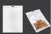 Σακουλάκια πλαστικά με κλείσιμο zip 220x300 mm, λευκή πίσω όψη, διάφανο μπροστά και τρύπα eurohole - 100 τμχ
