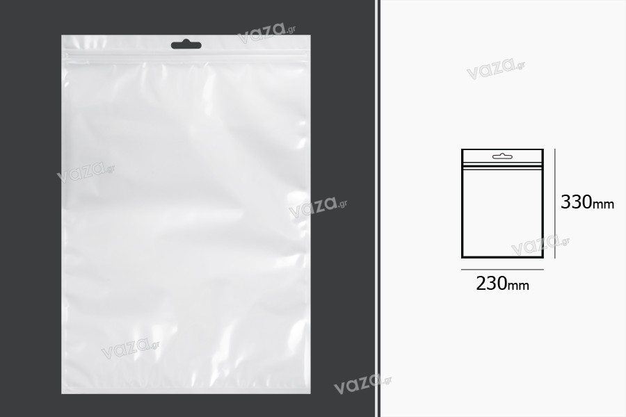 Σακουλάκια πλαστικά με κλείσιμο zip 230x330 mm, λευκή πίσω όψη, διάφανο μπροστά και τρύπα eurohole - 100 τμχ