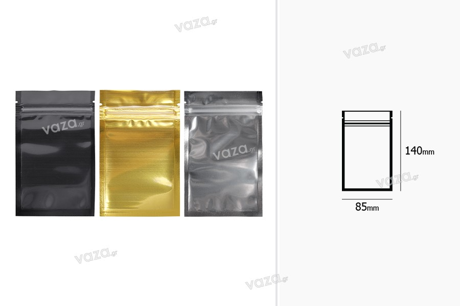 """Σακουλάκια αλουμινίου με κλείσιμο """"zip"""" 85x140 mm, διάφανη μπροστά πλευρά και δυνατότητα σφράγισης με θερμοκόλληση - 100 τμχ"""